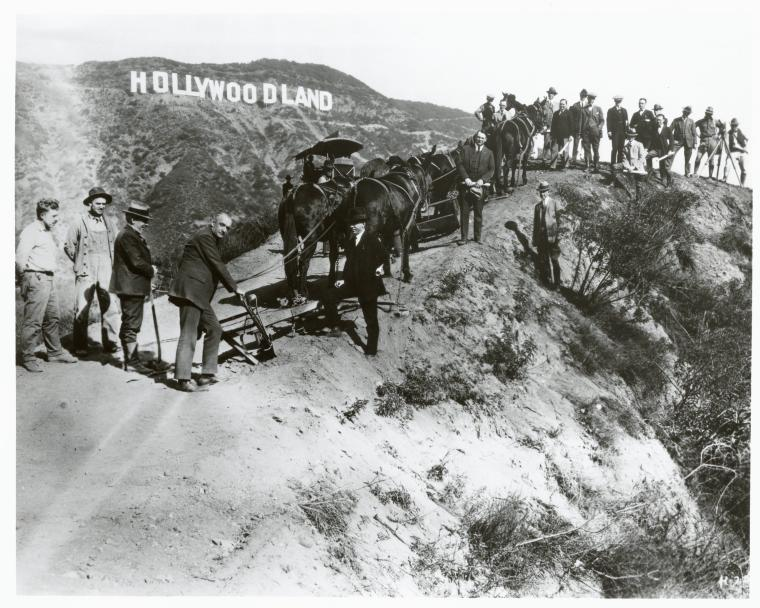 Breaking ground on the Hollywood sign. Photo via New York Public Library Digital Collection (c. 1923)