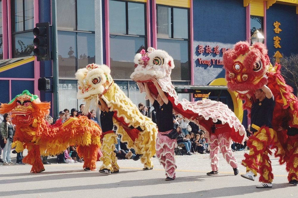 Four Chinese lions in the 2019 Chinatown Parade