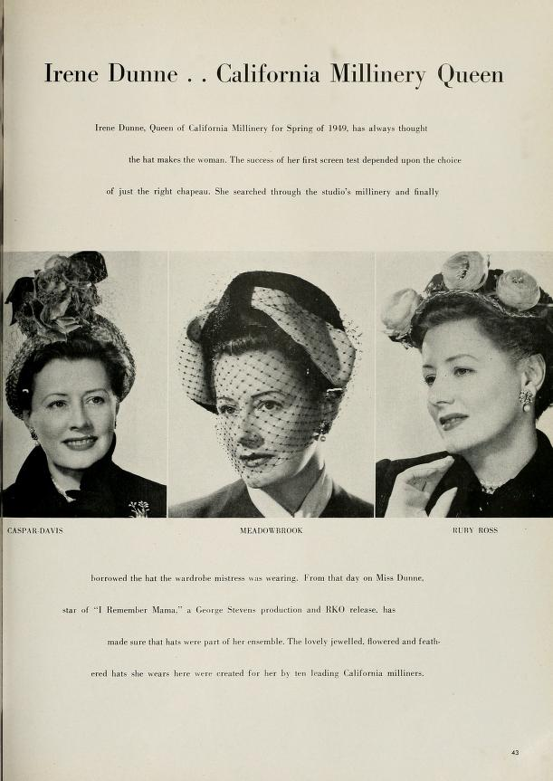 """Irene Dunne's two page spread in The Californian after being selected """"California Millinery Queen"""" (1949)"""