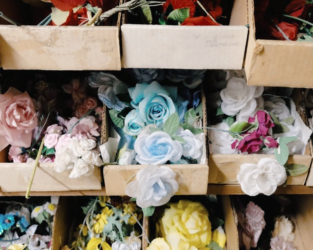 Faux flower hat decorations at California Millinery Supply Co.