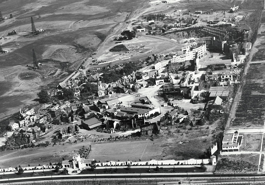 Fox studio lot in 1928. Image via  The Hollywood Reporter .