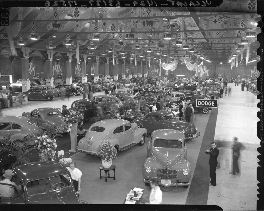 Auto Show in Pan-Pacific Auditorium. Photo from the  LA Times  via UCLA Library Collection (1939).
