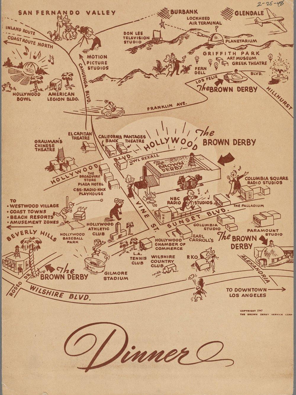 Brown Derby menu - photo via New York Public Library (1948)