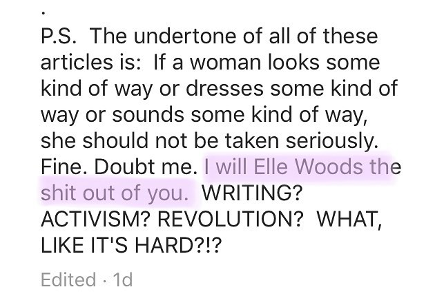 """Ladies & Gentlemen, Glennon Doyle. Let's ALL """"Elle Woods the shit out of them."""""""