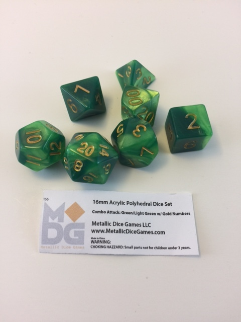 Green/Light Green Combo Dice – Metallic Dice Games / metallicdicegames.com  An entire set of dual green with gold numerals. This is a handsome set for all your adventures