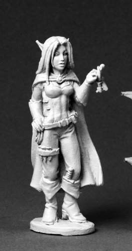 Valloa Female Elf Thief Miniature – Reaper  We've taken this mini and wrapped a character around her in our new adventure. Use the Valloa mini as your character or pit her against your players in the Against the Dead Hands adventure.