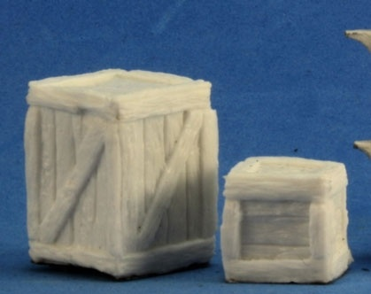 Crate Miniatures – Reaper  Add a little inspiration for sneaky deeds with these crates from Reaper. Paint them up and use them as accents in any game.