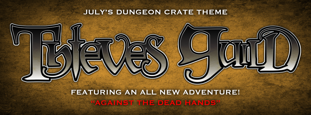 It's a complete adventure in a box. This month's theme is wrapped around our new module, Against the Dead Hands. In this crate you'll discover our second DC mini module as well as items you can use in this adventure. Treasure, traps, and shady characters abound in this month's offering.