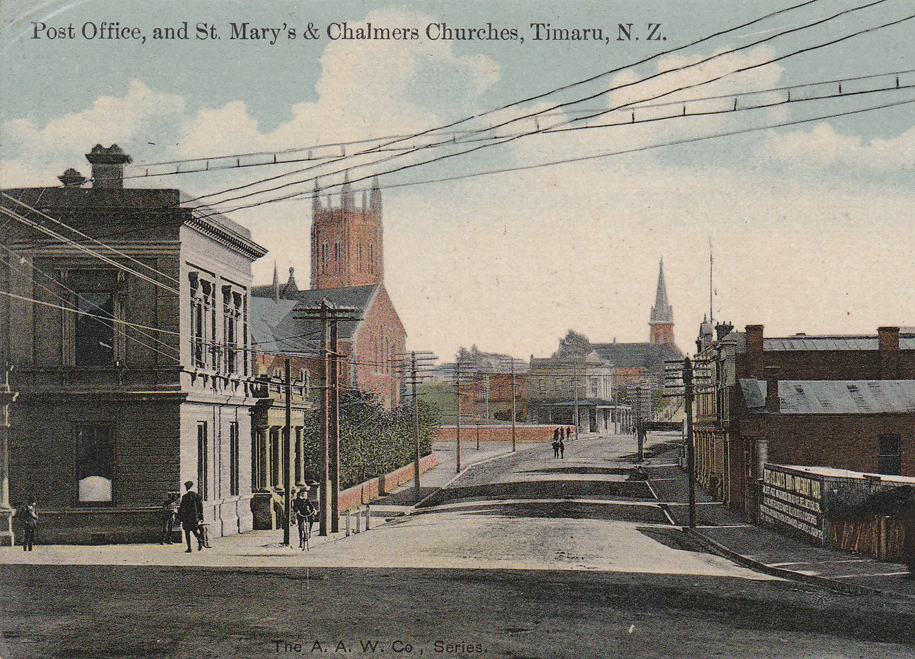 1909:Grand Opening - St Mary's opened in its present form in May 1909, including the new tower, which stands 32 metres tall.  The Timaru Herald noted at the time that the new church had seating for 900 people.