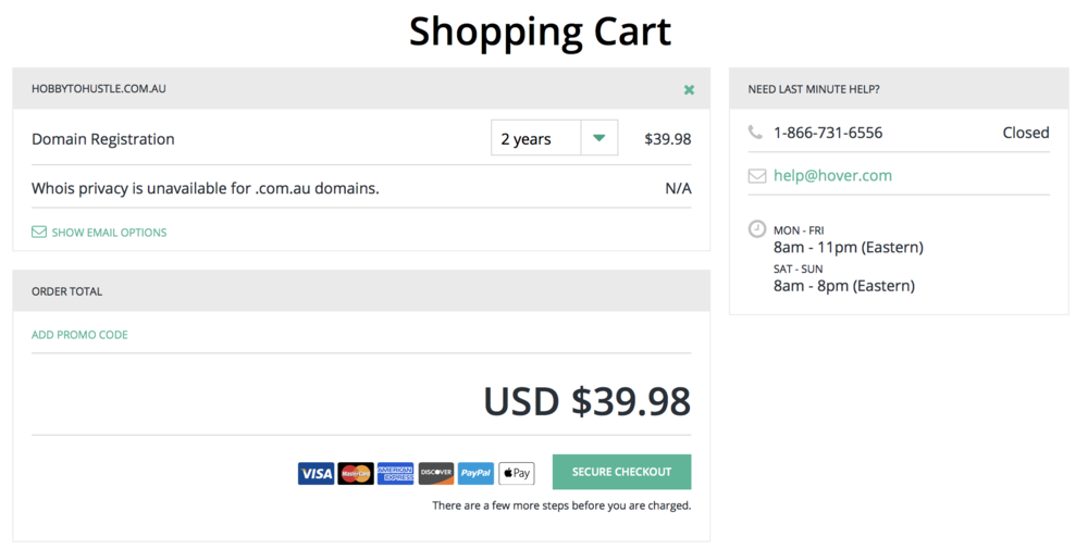 Domain name shopping cart
