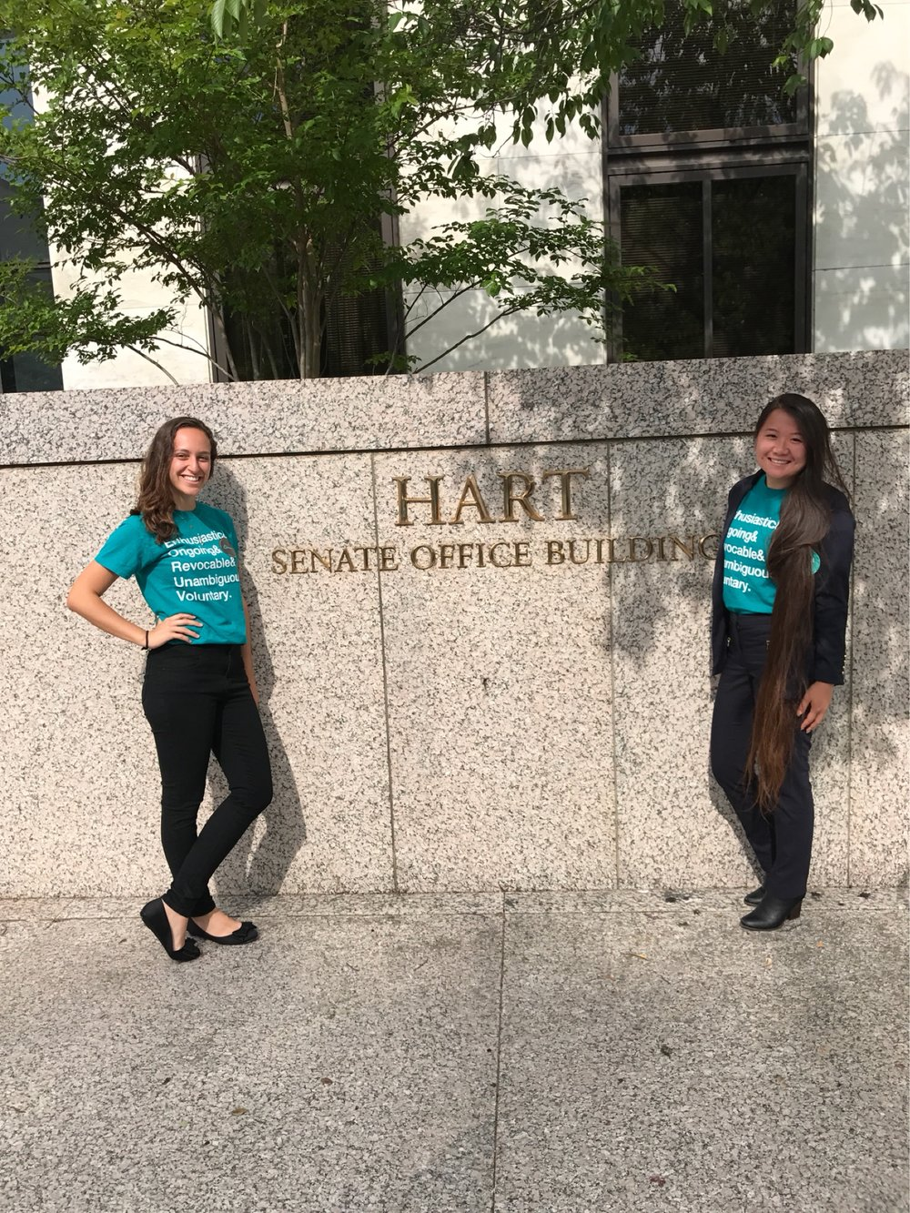 Our Policy Coordinators, Tal and Elaine, outside the Senate Office Building ready to begin lobbying!