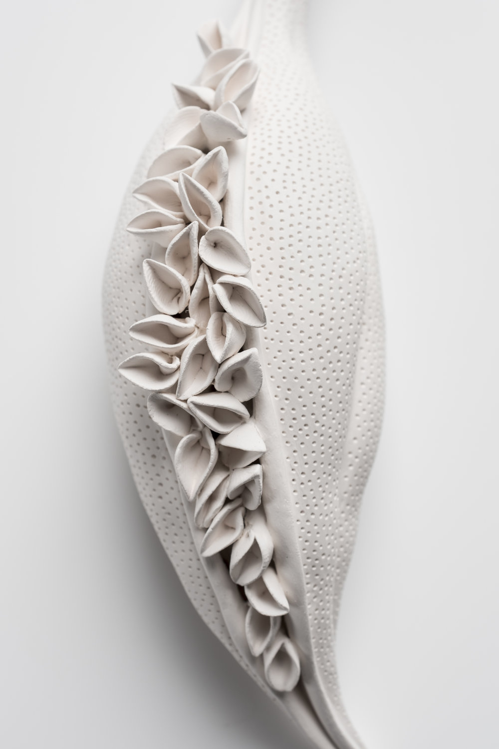 Sarah Rayner,  Listening , 2018, hand carved porcelain, Terra Sigillata, 1000c, detail, Photo: Greg Piper.