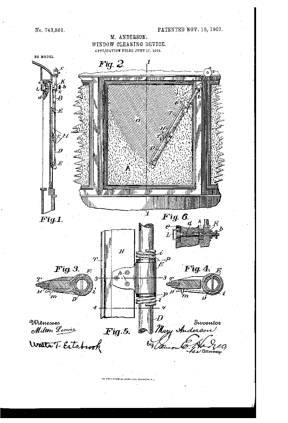 Mary Anderson's original 1903 wiper design  Source:  https://upload.wikimedia.org/wikipedia/commons/8/8c/Anderson_Window_Cleaning_Device_1903.png