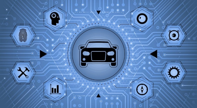An illustration image of Artificial Intelligence (AI) modules applied in automotive industry.  Image from:  10th Auto