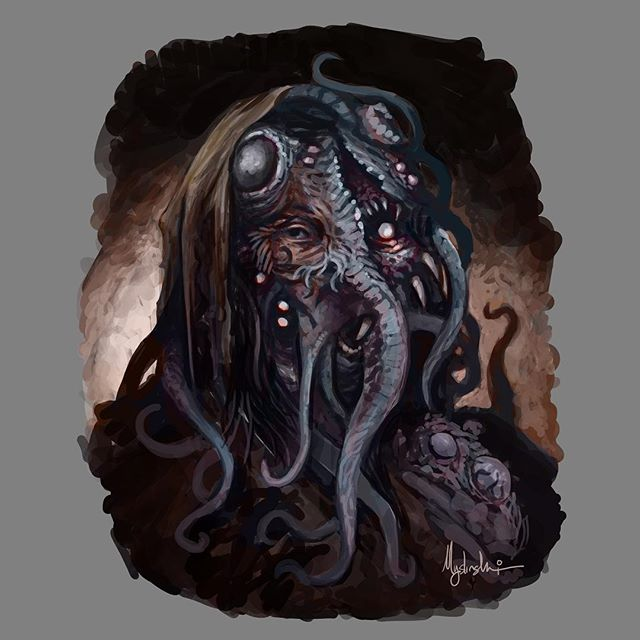 Cthulhu is that you? Read about mankind's fallen ancestors, the nephalim! New post up on the Lore Journal for Driftwood Archives... head over to the main site (link in bio) and hit Lore up top! . . www.driftwoodarchives.com/lorejournal . . #photoshop #painting #conceptart #fantasyart #illustration #dark #darkart #fantasy #instaart #instaartist #oc #driftwoodarchives #twitch #art #artwork #digitalart #horror #dungeonsanddragons #5e #cthulhu #lovecraft