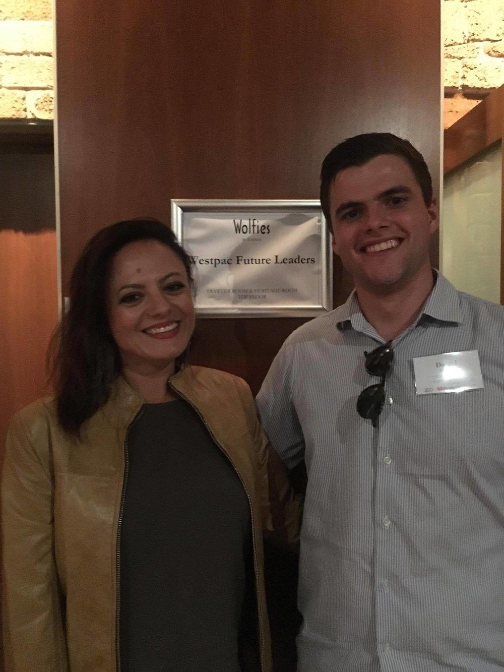 Westpac Future Leaders Dinner with fellow Scholar, Daniel Conley.