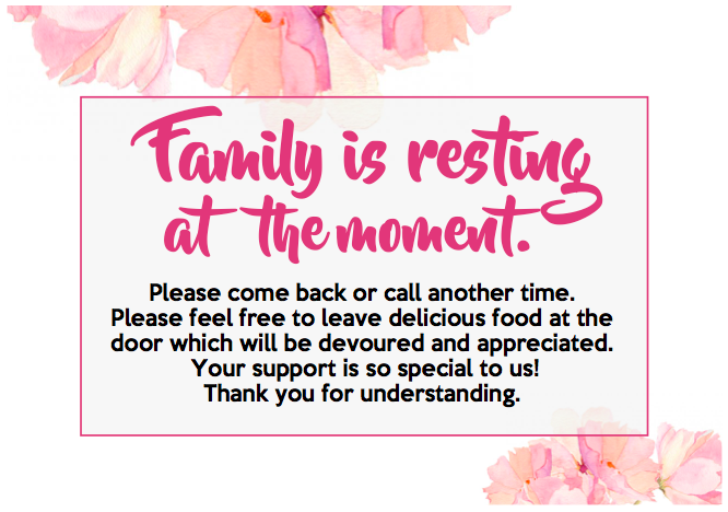 FAMILY IS RESTING - SIGN  - Landscape (Pink)
