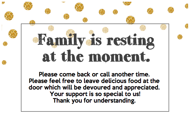 FAMILY IS RESTING - SIGN  - Landscape (Black/Gold)
