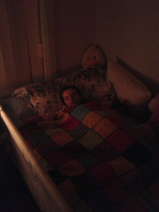 First night in her own bed. Was she nervous? I certainly was.