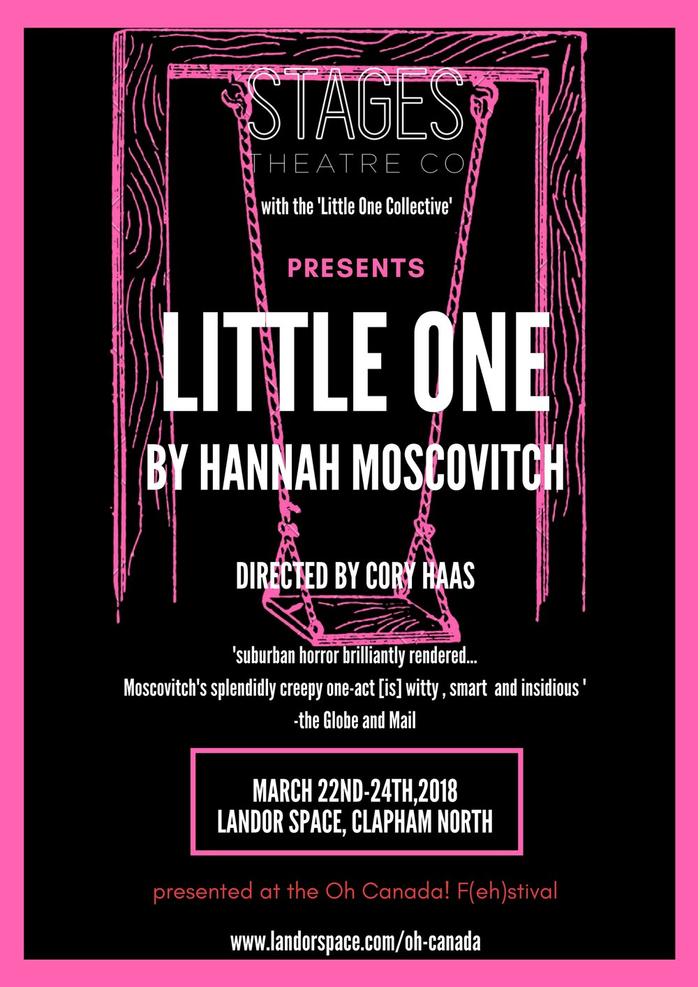 LITTLE ONE - Written by Hannah Moscovitch and directed by Cory Haas – Thursday March 22nd - Saturday March 24th 2018 @ 7pmStandard £16 - Concessions £14The F(eh)stival concludes with our main event, a three-night run of Little One. A chilling psychological thriller, Little One is the haunting story of adopted siblings Aaron and Claire – one the definition of normal, the other deeply disturbed and unpredictable – and the strange lives of their neighbours, a man and his mail-order bride. Hannah Moscovitch is a Siminovitch Prize and Govenor General's Award nominee, her plays have received national recognition and has been called 'the wunderkind of Canadian theatre' by CBC Radio.