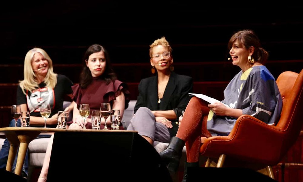 Tracey Spicer, Irin Carmen, Jenna Wortham and Sophie Black leading their panel discussion 'This is not a moment, it's a movement' at the 2018 Sydney Writers' Festival.