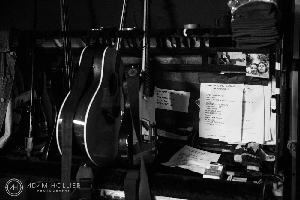 Backstage at the Swanbourne Music Festival this is the guitar rack belonging to frontman Roy Stride…