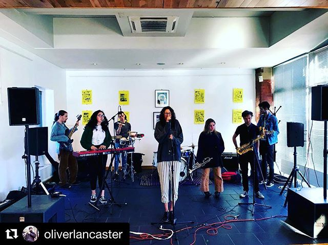 Great photo from last Saturday's Onwards Festival  #Repost @oliverlancaster ・・・ Some of my artwork (yellow pieces) hanging alongside @tobywalshaw1 wonderful work - at #OnwardsFestival with @mamilah_band performing in front. Displayed at @themediacentre #Huddersfield. . . . . . #handdrawn #artwork #lofi #logo #bright #colorful #color #acid #type #typography #design #illustration #popart #naiveart #abstractart #outsiderart #lofiart #lofiartist #exhibition