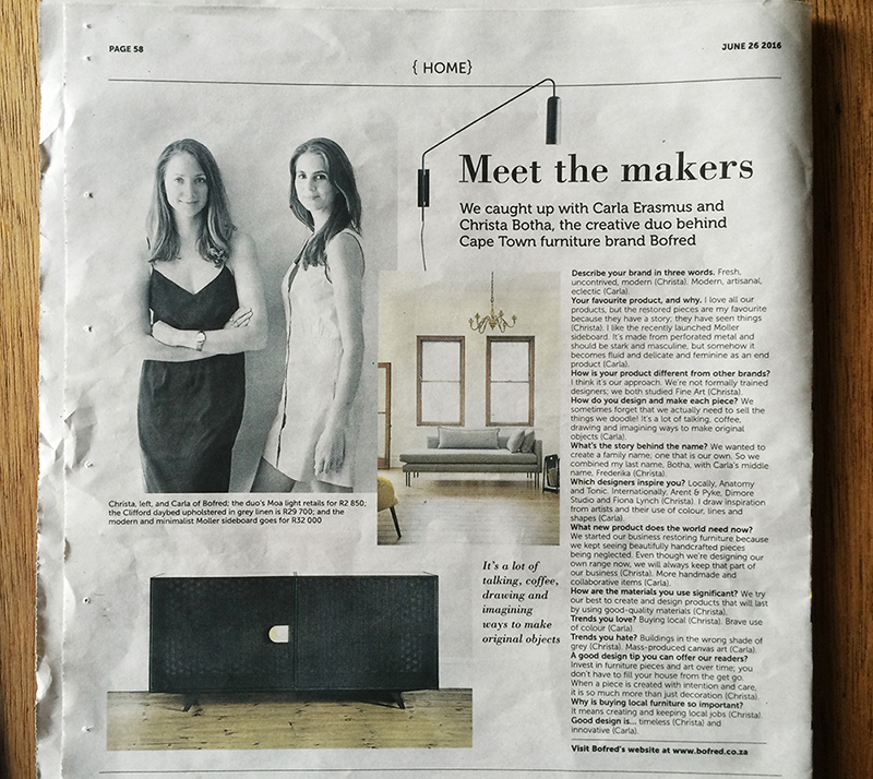 Sunday Times Home. 2016.  Meet the Makers  feature