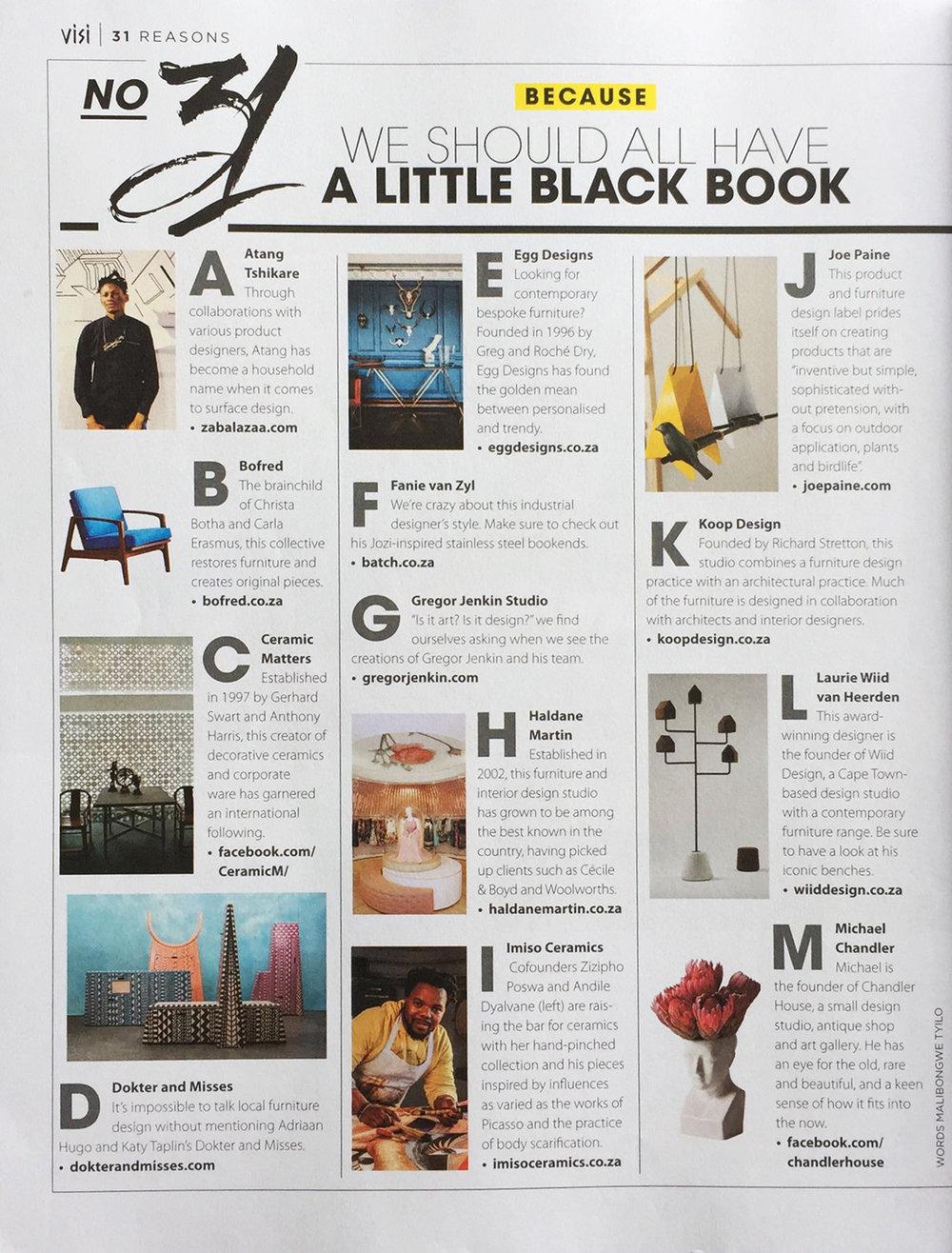 VISI Magazine. Little Black Book feature.