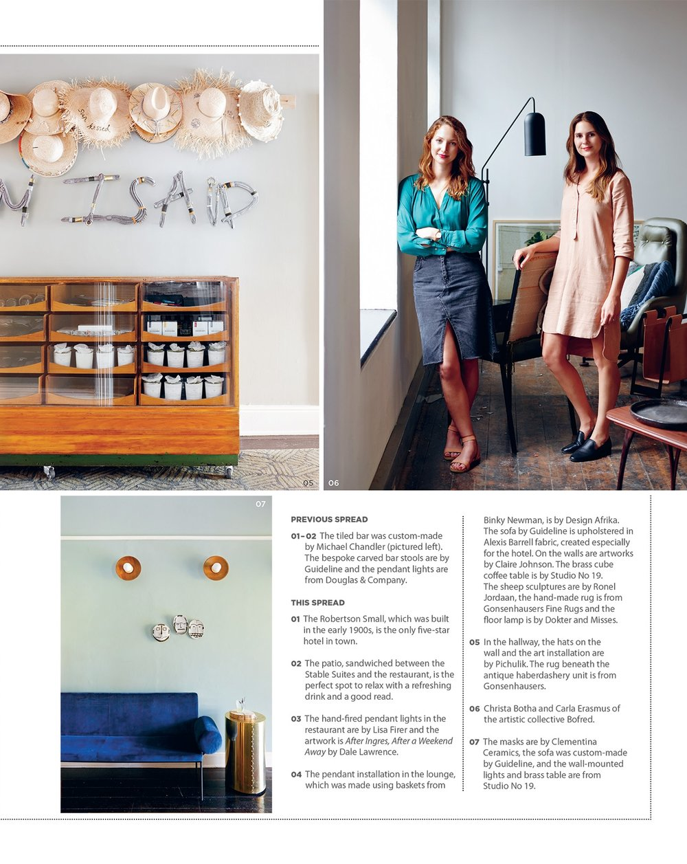 VISI Magazine. 2017. Bofred for Robertson Small Hotel.
