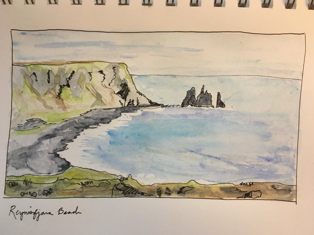 View of Reynisfjara Beach from Dyrhólaey, Iceland