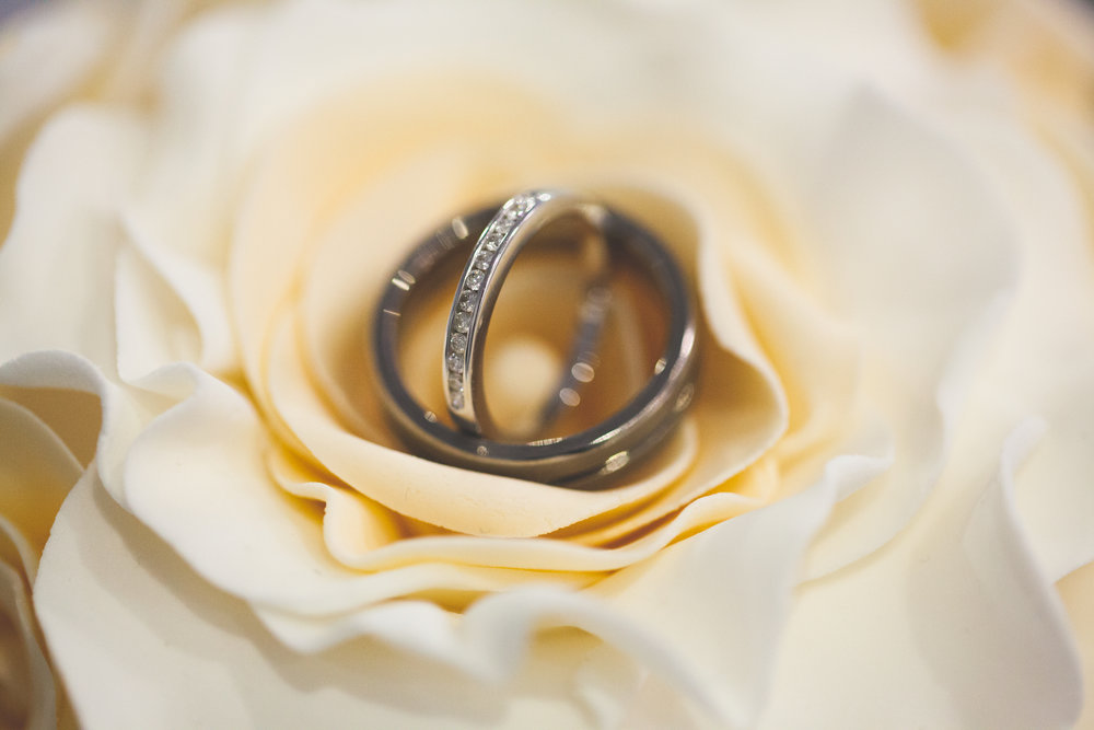 Rings on top of the wedding cake, shot using a macro lens.