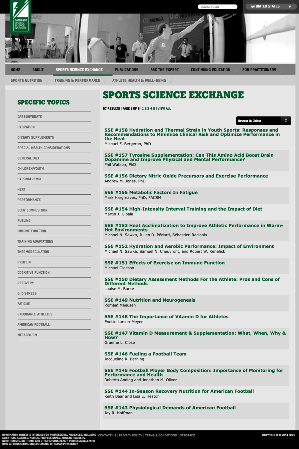 [Before] Sports Science Exchange Landing Page