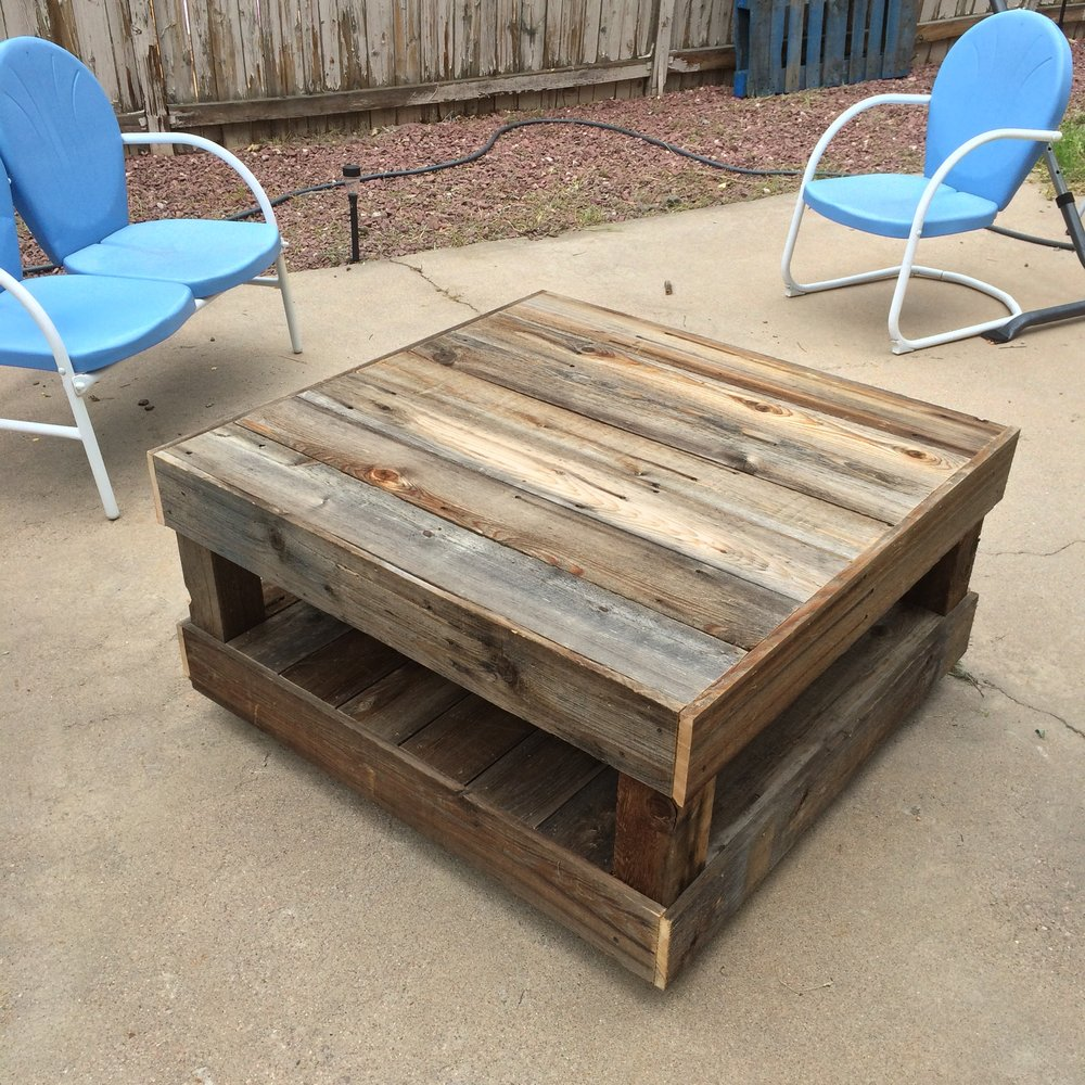 Reclaimed wood outdoor coffee table.