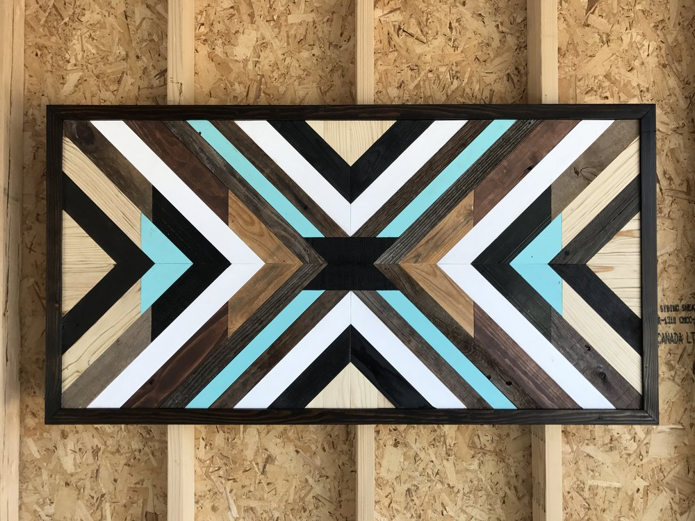 Reclaimed wood wall piece.