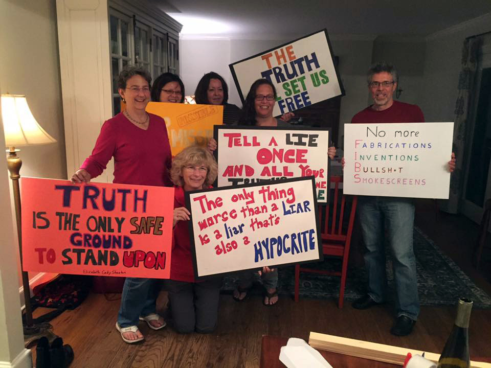Ready for the  #MarchForTruth ? We are! With  Annie OConnell  — with Maryanne Hardy, Lisa rubinstein fuller and  Elana Pate .