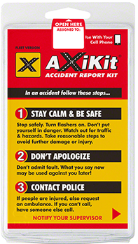AXIKITAccident Kit - Drivers without smartphones? Turn any cell phone or digital camera into an easy to use accident kit. Learn More