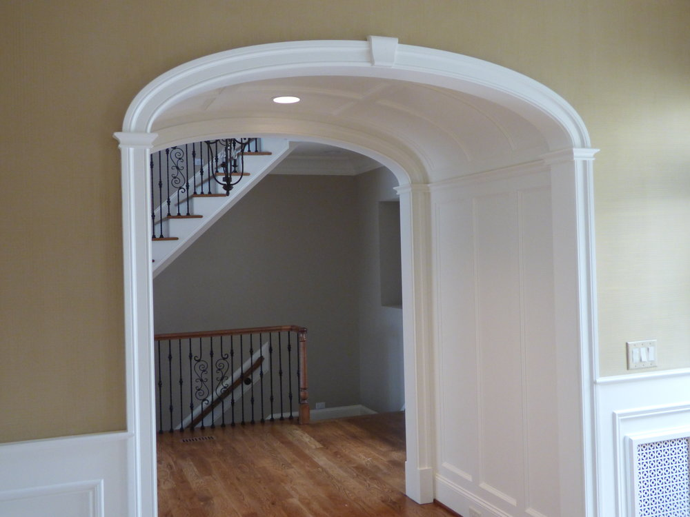 """barrel hallway arched opening - cbs kit on each end with 84"""" deep barrel paneling detail"""
