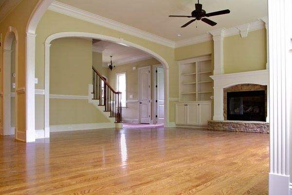 family room arched door openings - 14 feet wide!