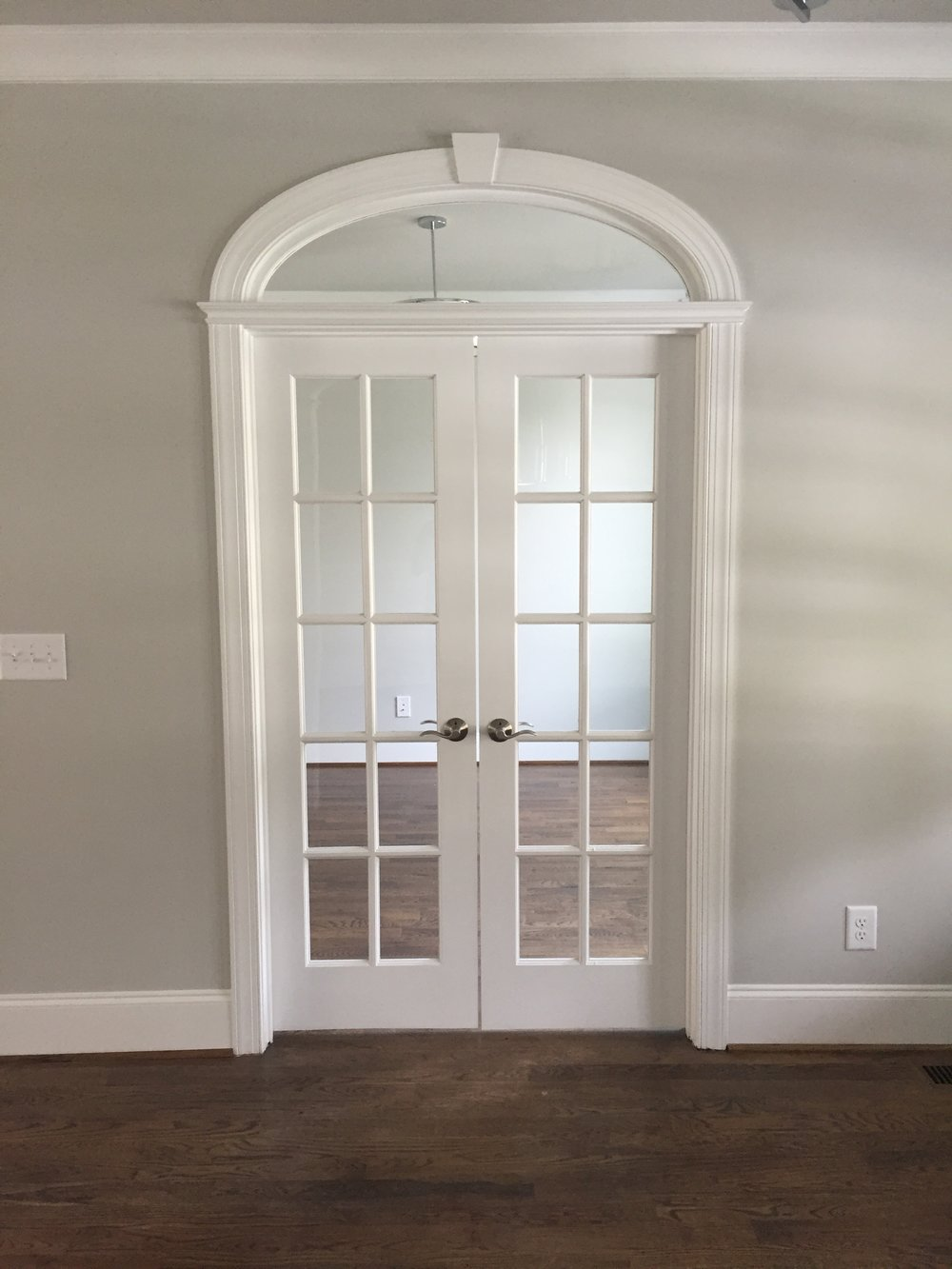 arched French door transom for office - ez arch style modified with transom details