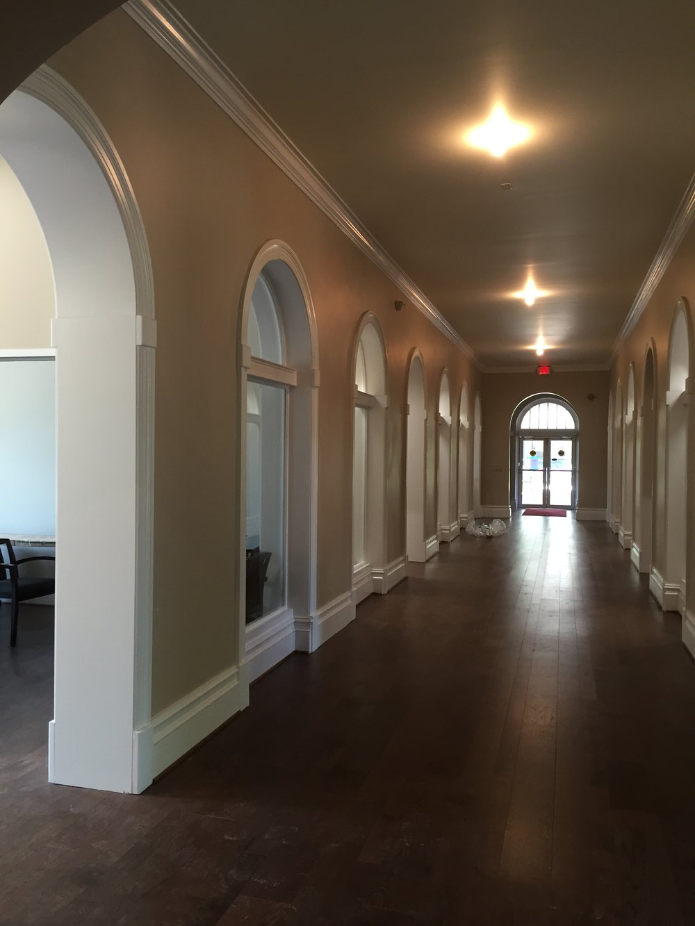 """hallway arches in the Ammons Welcome Center at Meredith College in Raleigh, NC. - round arches with 20"""" thick walls"""