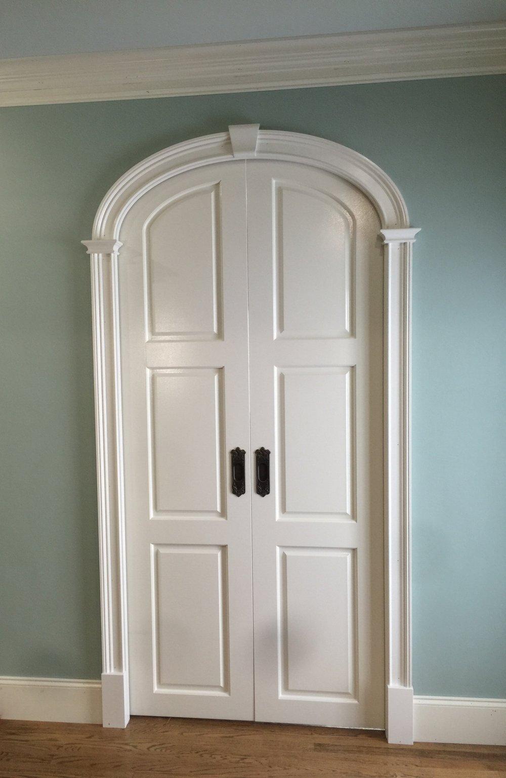 arched pocket doors - prefab arch kit split to fit concentric panel pocket doors!