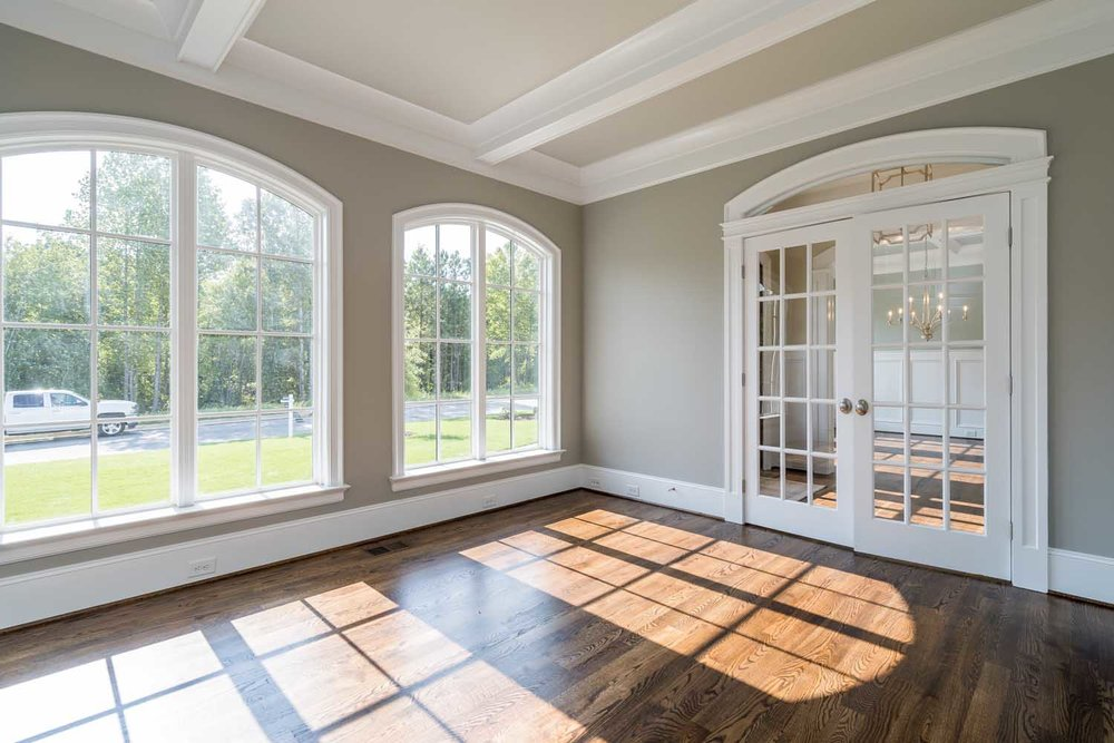 Superbe Radius Arch Transom Over French Doors In Home Office, Solid Arch Window  Casings