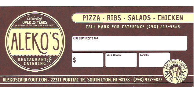 Aleko's Gift Certificates make for the PERFECT Holiday gift!