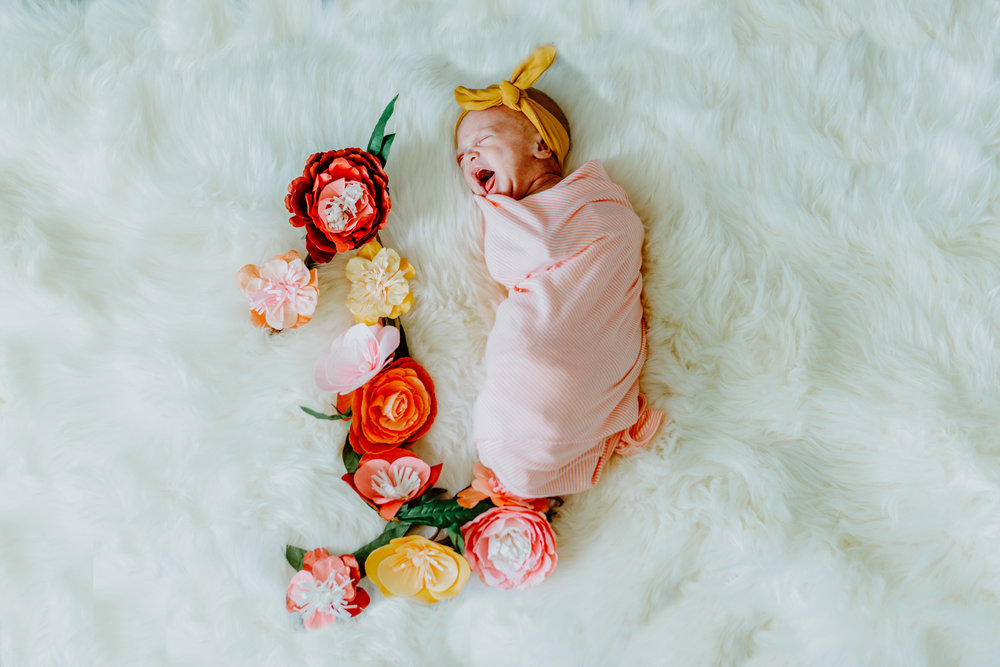 Austin Texas First Month Photoshoot Milestone Session Baby Photography Boho Bohemian Girl Flowers One Tent In Home Natural Light Photographer