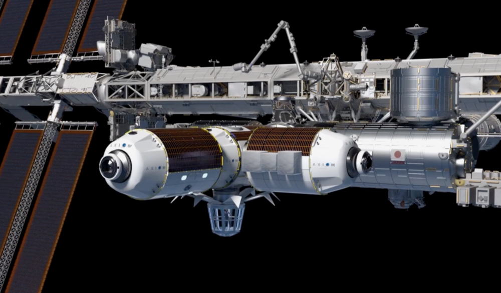 Axiom Space's first three modules, including the Axiom Earth Observatory, attached to the International Space Station. Image courtesy Axiom Space.