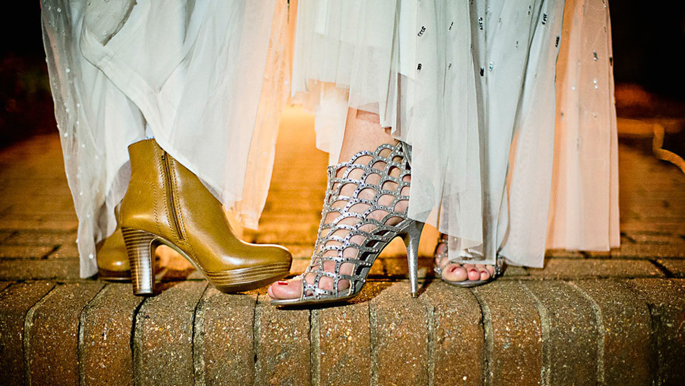 A pair of fancy high-heeled shoes from two same-sex newlyweds on their wedding day