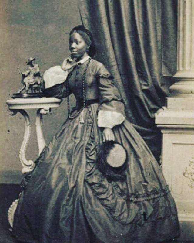 "Spring Summer 19 Muse.  Sara Forbes Bonetta, captured aged five by slave raiders in west Africa, Forbes Bonetta was rescued by Captain Frederick E Forbes, then presented as a ""gift"" to Queen Victoria. An African Yoroba princess in Victorian England. She eventually became Queen Victoria's god daughter."