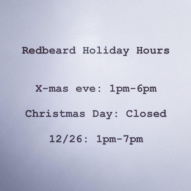 Holiday Hours! Get your last minute shopping in tomorrow or come see us after Christmas!