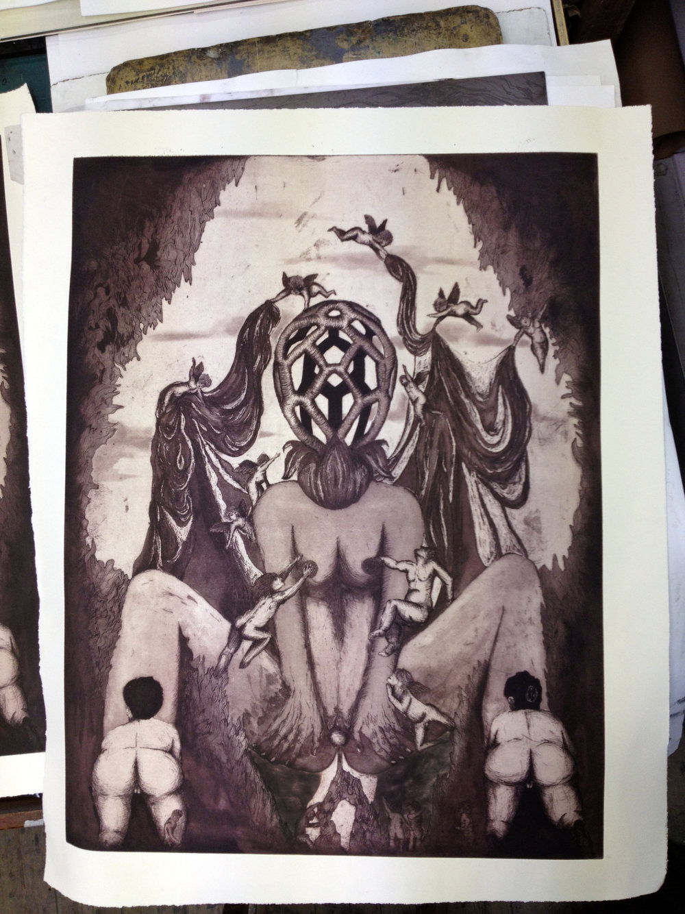 "Photo of new piece ""Gaia"" just off the press in the studio this week!"